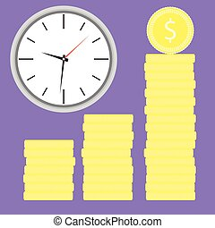 Time is money. Clock with coin stock
