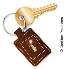 Wyoming Key Fob With Key - A brown leather key fob and ring...