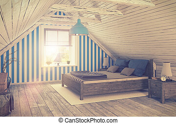 3d - maritime holiday flat - retro style - 3d render of a...