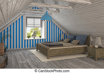 3d - maritime holiday flat - 3d render of a maritime holiday...
