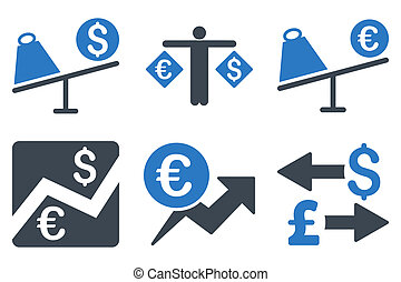 Currency Trading Flat Glyph Icons - Currency Trading glyph...