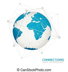 Global network connection World map Blue earth Abstract...
