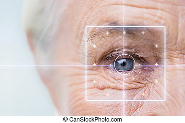close up of senior woman face and eye - age, vision,...