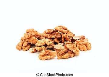 Walnuts on white background