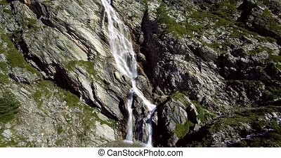 4K Aerial, Flying Above Waterfalls At Rifugio Scarfiotti,...