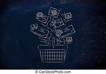 shopping basket with gift cars and coupons, customer...