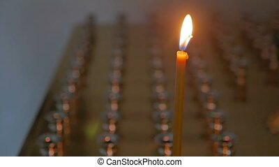 candles dark in the church russian orthodox of service...