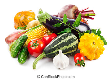 Fresh vegetables autumnal harvest with green leaves