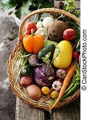 different vegetables in big basket