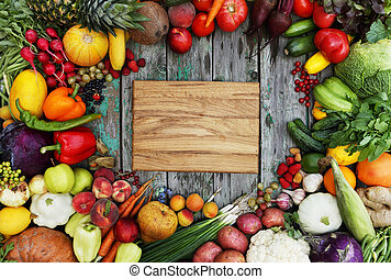 background with a cutting board - Healthy food background...