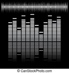 Equalizer bar with reflection and sound chart, 2d vector on...