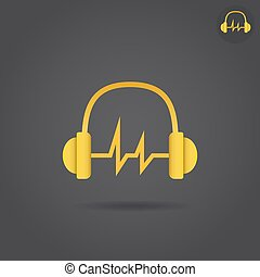 Headphone with sound wave, simple icon, 2d vector sign, eps...