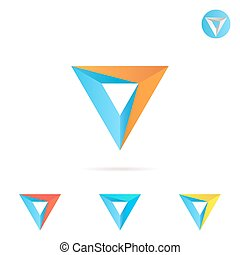 Delta letter with arrow, triangle shape, color variations,...