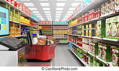 Shopping basket at checkout in supermarket - 3D rendering of...