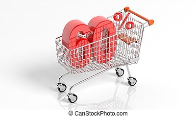 3D of 60 percent sale in shopping cart - 3D rendering of...