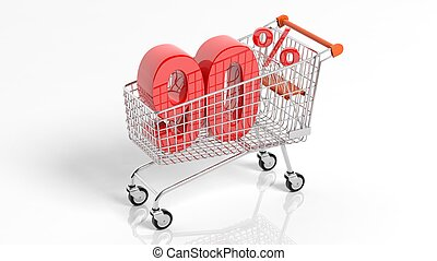 Big sale 90 percent discount in shopping trolley - 3D...