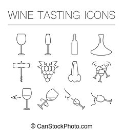 Wine tasting icons in linear geometric style. Vector...