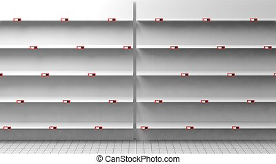 3D rendering of empty shelves in shop - 3D rendering of...