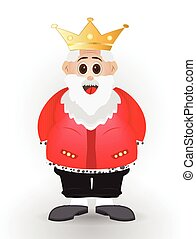cute cartoon king character - fat cartoon king with crown in...