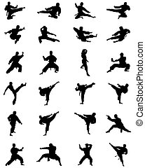 karate fighting, vector - Black silhouettes of karate...