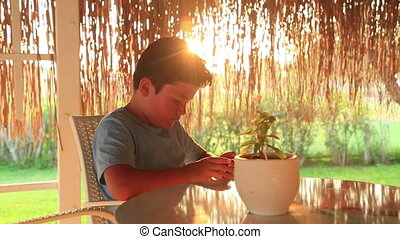 Young boy with smartphone in summer