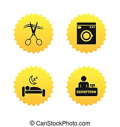 Hotel services icon. Washing machine, hairdresser. - Hotel...