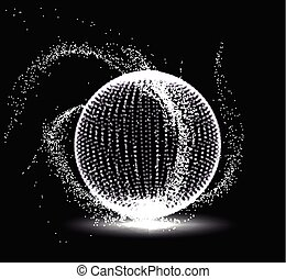 Abstract 3D sphere spiral shape in the form of luminous...