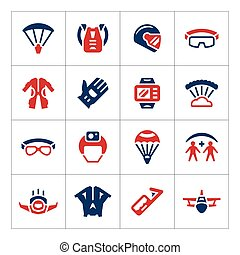 Set color icons of parachute isolated on white Vector...