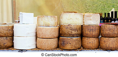 Various types of Italian cheeses