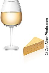 A glass of white wine isolated with cheese - A glass of...