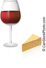 A glass of red wine isolated on a white background with...