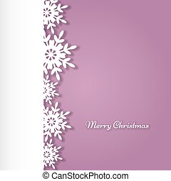 White snowflake border on a pink background - White...