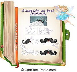moustache on book
