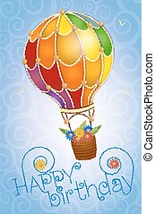 flowers in the sky birthday card - Colorful positive floral...