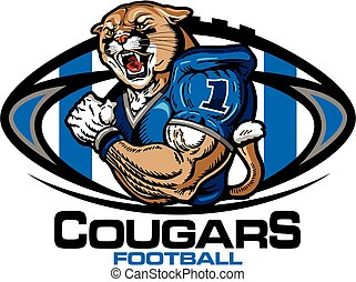 cougars football - muscular cougars football player team...