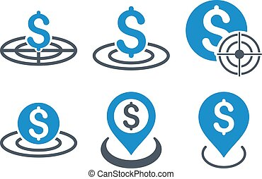 Business Target Flat Vector Icons