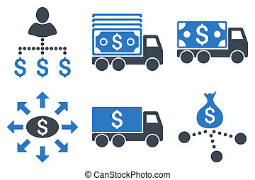 Cash Delivery Flat Glyph Icons - Cash Delivery glyph icons....