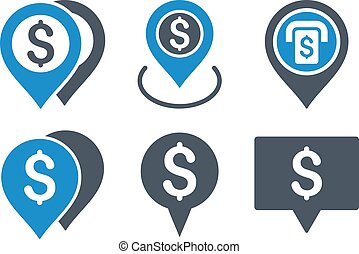 Dollar Map Pointer Flat Vector Icons
