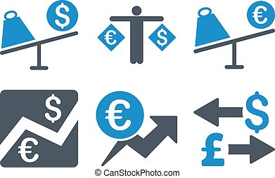 Currency Trading Flat Vector Icons - Currency Trading vector...