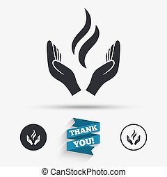Energy hands sign icon Power from hands symbol Flat icons...