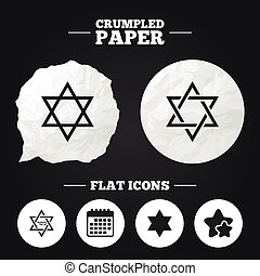 Star of David icons Symbol of Israel - Crumpled paper speech...