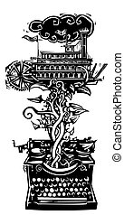 American Riverboat Story - Woodcut style image of a manual...