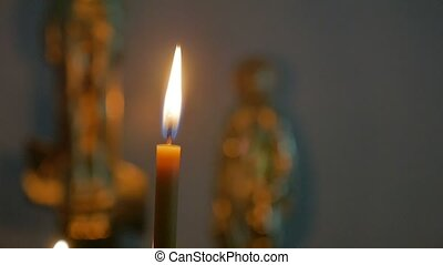candles dark in the russian church orthodox sacrament of service slow motion video