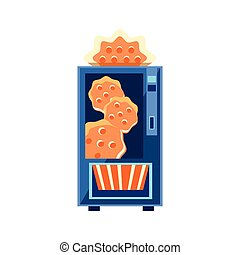 Cracker Vending Machine Design In Primitive Bright Cartoon...
