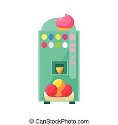 Ice-cream Vending Machine Design In Primitive Bright Cartoon...