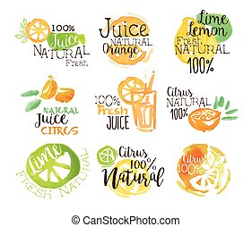 Natural Citrus Juice Promo Signs Colorful Set Of Watercolor...