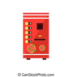 Pizza Vending Machine Design In Primitive Bright Cartoon...