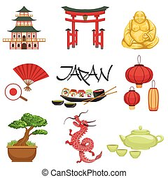 Japanese Culture Symbols Set - Classic Japanese Culture...