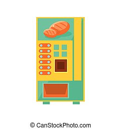 Bread Vending Machine Design In Primitive Bright Cartoon...