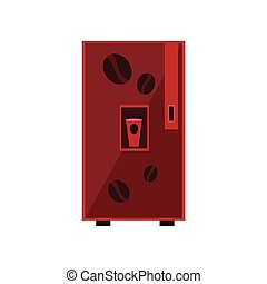 Coffee Vending Machine Design In Primitive Bright Cartoon...